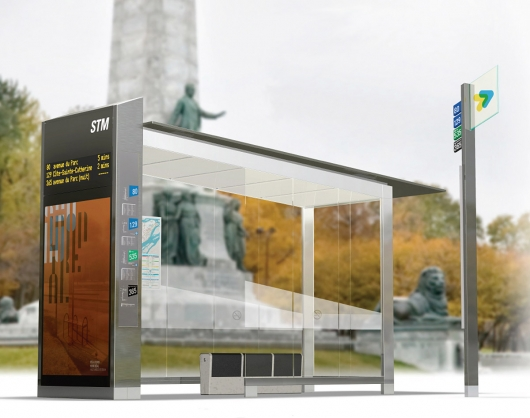 Montréal is set to replace 400 bus shelters by 2013. Rendering by Leblanc + Turcotte + Spooner.