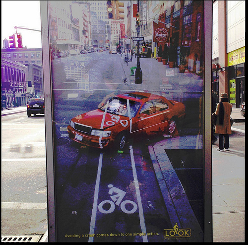A New York City DOT posted promoting safety in bike lanes.
