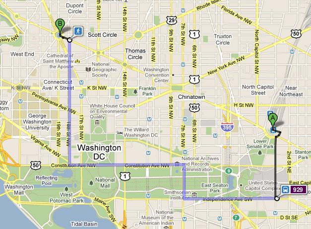 Users of Washington D.C. area public transit will soon be bale to map out their routes using Google Transit. Image from Google.