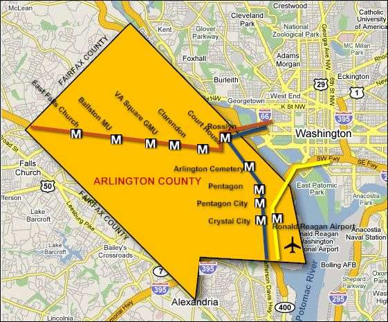 Map of Arlington and D.C.