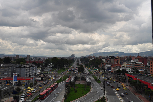 The success of Bogota's TransMilenio bus rapid transit system is largely based on the concentrated development that has occurred around bus corridors. Photo by Javier Guillot.