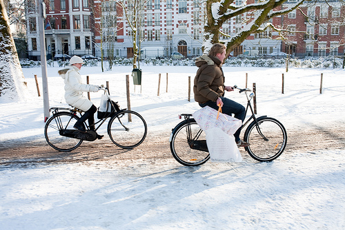 Amsterdam bicyclists tote their shopping bags on two wheels. Photo by Bauke Karel.