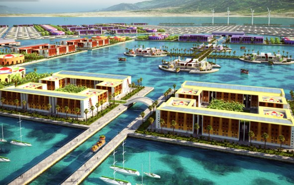 This imagined floating city would be tethered to the ocean floor by cable. Photo via Inhabitat.