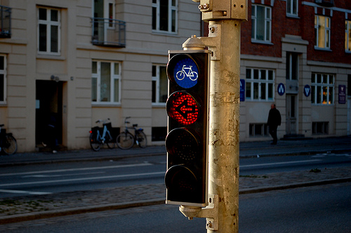 A cycling signal in Copenhagen.