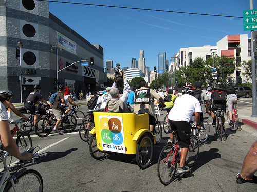 Los Angeles held its first CicLAvia car-free day in October 2010. Photo by waltarrrrr.