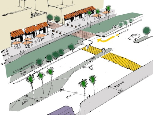 CTS-México's recommendations are expected to increase the neighborhood's demand for public transportation, biking and walking. Image by CTS-México.