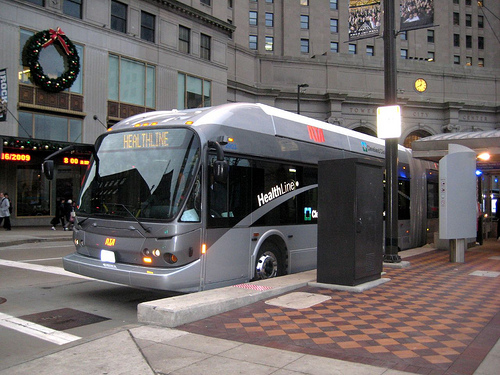 The Cleveland HealthLine is a great example of BRT in the United States, spurring billions of dollars of investment along the corridor. But how come not many people know about it? Photo by Center for Neighborhood Technology.