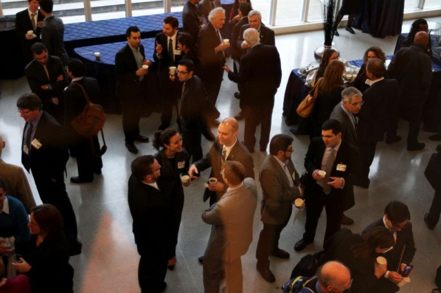 Attendees on a coffee break. More than 400 people attended Day One of Transforming Transportation 2013