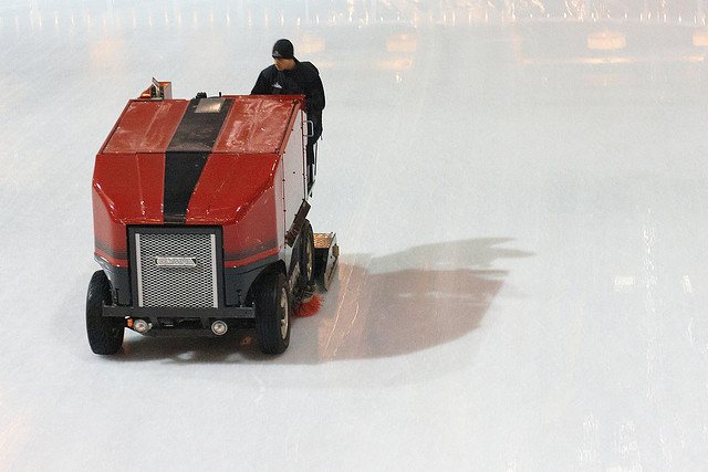 Red Zomboni ice resurfacer. Photo by Digiart2001 | jason.kuffer.