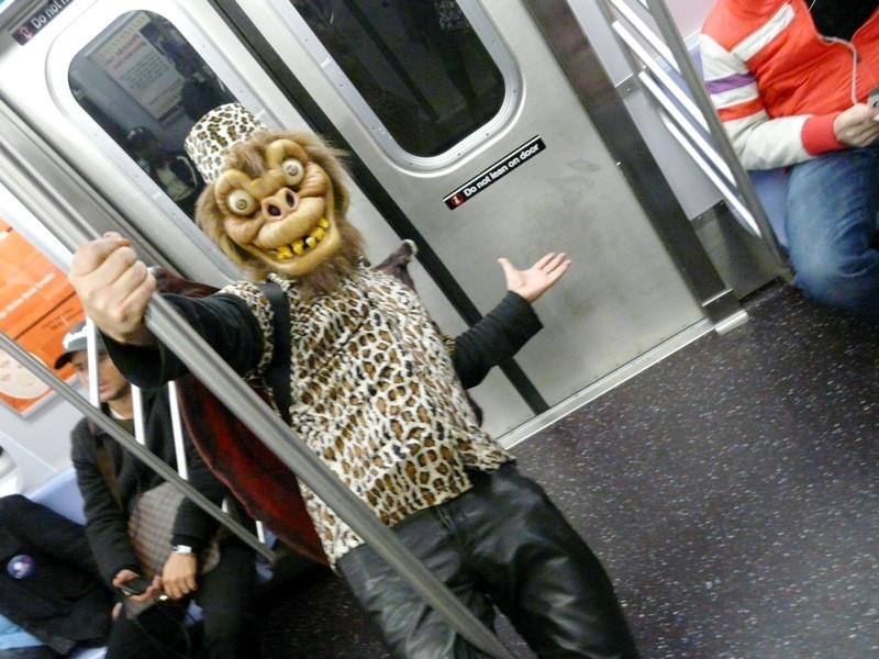 Flying monkey on metro