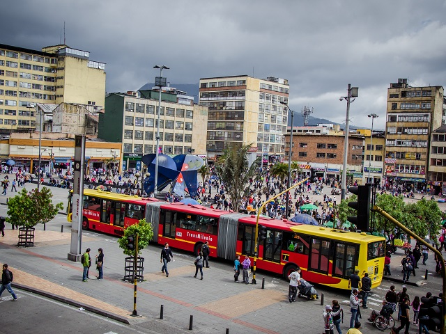 Bogotá, Colombia's Transmilenio bus rapid transit (BRT) system has been successful in integrating social equity into transport planning and urban design. Photo by RonaldHV/Flickr.