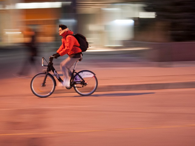 Riding a Bixi bike through Montreal, Canada. Photo by Roland/Flickr.