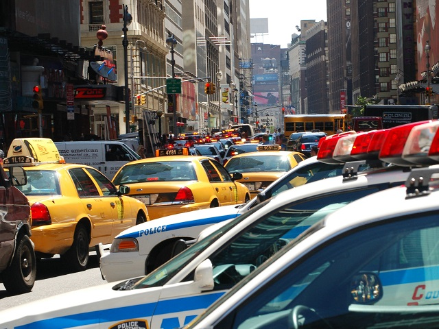 Traffic is gridlocked around Times Square, New York, in 2006. Photo by Chloelepaule/Flickr.