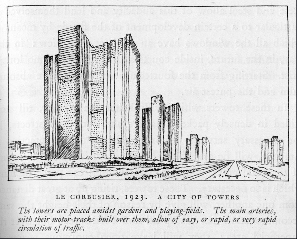 """A City of Towers."" Sketch by Le Corbusier."