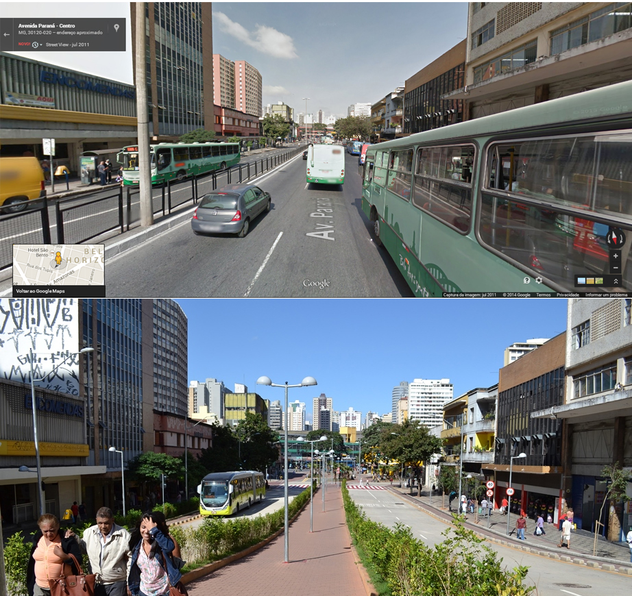 Belo Horizonte transformed Paraná street by creating people-oriented spaces and making room for public transport. Compared to its previous design (shown in the top picture), the street's new design (shown in the bottom picture) improves mobility, the landscape, and safety. Before photo via Google Maps, after photo by Luisa Zottis/EMBARQ Brasil.