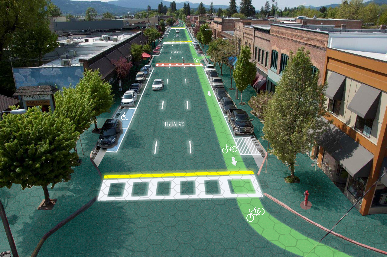 A rendering of the solar roadway depicts potential information that the road can convey, from alerting cars to weather conditions to potential roadblocks up ahead. Image by Sam Cornett/Solarroadways.com.