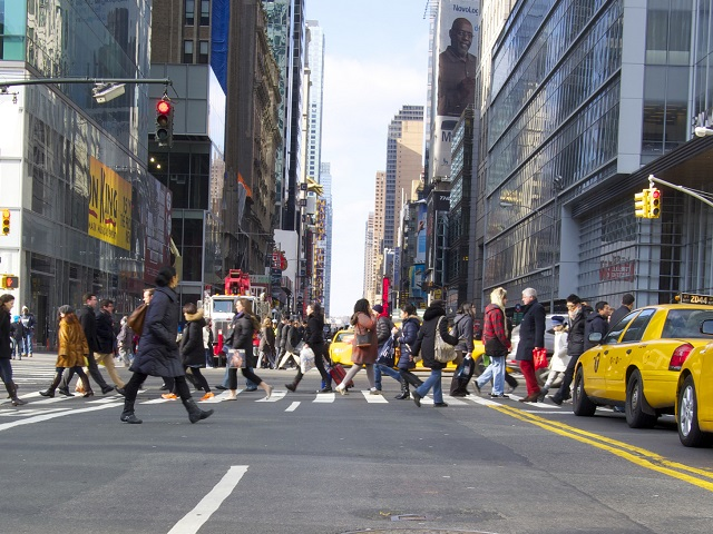 New York City's Vision Zero approach to road safety makes streets safer for pedestrians and cyclists and serves as a best practice for cities around the world. Photo by Moe_NYC/Flickr.