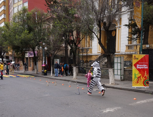 One of the city's zebras races against a young paceña to complete an obstacle course.  The zebra lost. Photo by Gwen Kash.