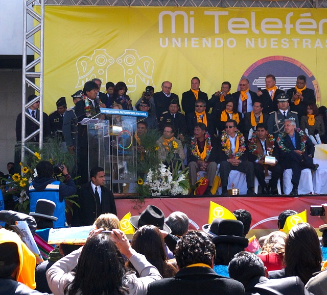 After taking the first journey on the line, President Evo Morales addresses attendees of the opening ceremony for the Yellow Line of Mí Teleférico outside the Libertador station in El Alto. Photo by Gwen Kash.