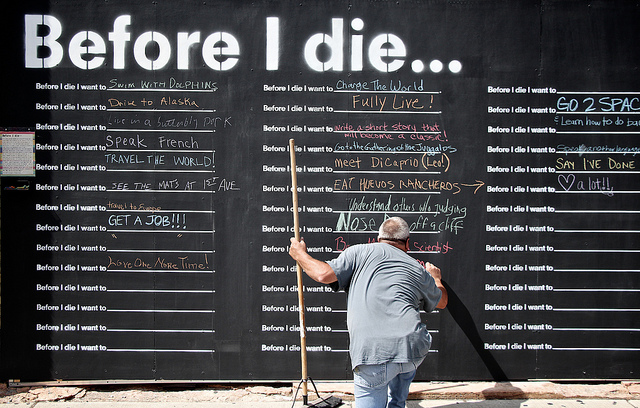 Residents share their personal aspirations with their community at this Before I Die wall in Minneapolis, Minnesota, United States. Photo by Clint McMahon/Flickr.
