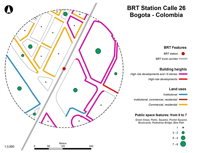 Map detailing BRT station in Bogota and the built environment