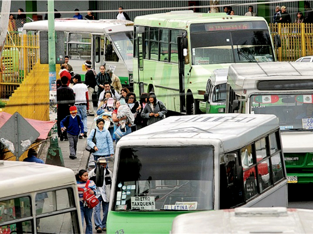 Microbuses in Mexico City